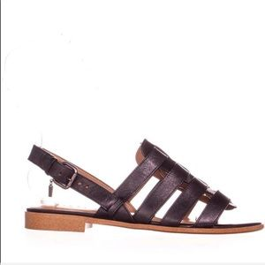 COACH Black Leather Skyler Flat Gladiator Sandals